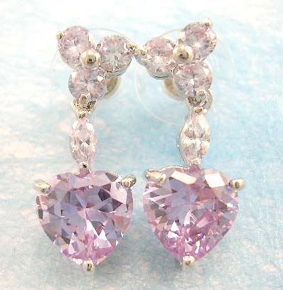 cubic zirconia fashion jewelry wholesale supply light purple cz earring in rhodium plated, brass base