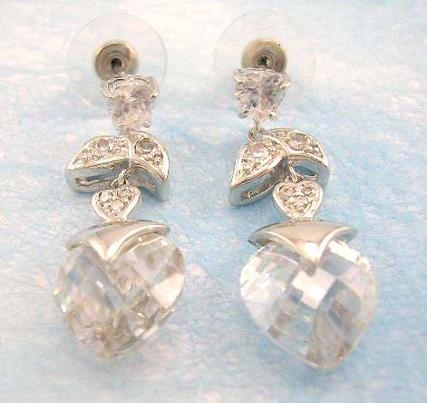 wholesale silver cz jewelry distribute silver cz earring with brass base and rhodium plated
