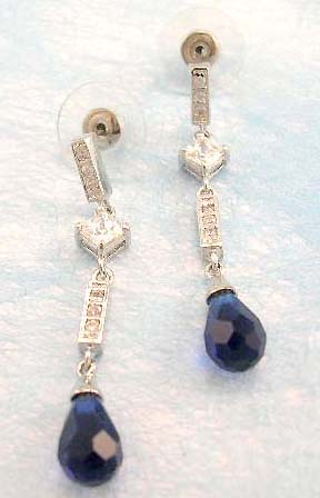 wholesale cubic zirconia fashion jewelry supply dark blue cz earring in rhodium plated, brass base