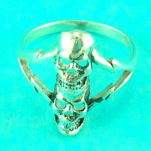 online wholesale jewelry catalog presents skull symbol ring with nice lightning strike on side