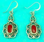 best fashion costume jewelry 925 sterling silver wholesale supplies rounded oval red gemstone earring