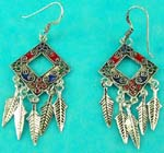 inexpensive wholesale jewelry group presents native american style sterling silver fashion earring in squre shape