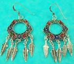 flashing jewelry online store displays high fashion hextangular sterling silver earring with Native Indian style