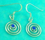cheap jewelry wholesale provides circular style sterling silver earring with blue gemstone